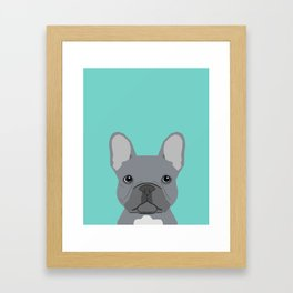 French Bulldog cute grey puppy funny bulldog pet gift for dog person loved one valentines day dogs Framed Art Print