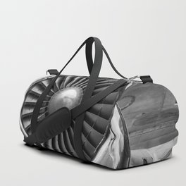 Vintage Airplane Turbine Engine Black and White Photographic Print Duffle Bag