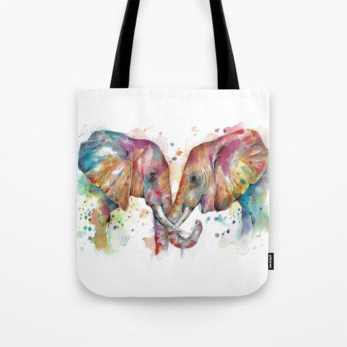 Sunset Elephants Tote Bag