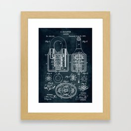 1885 - Padlock patent art Framed Art Print