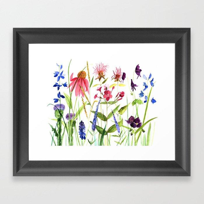Botanical Colorful Flower Wildflower Watercolor Illustration Framed Art Print