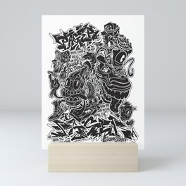 Pager One Black & White Collage Mini Art Print