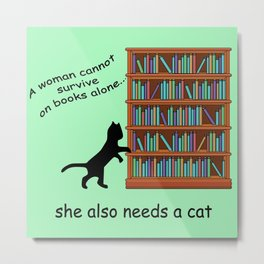 Cats and Books Metal Print
