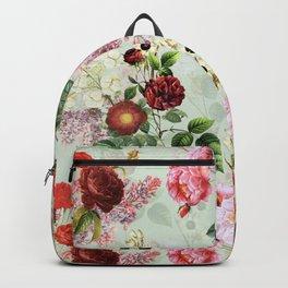 Antique Vintage Botanical Roses Garden Backpack