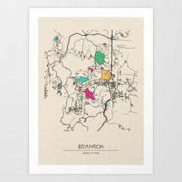 Colorful City Maps: Branson, Missouri Art Print