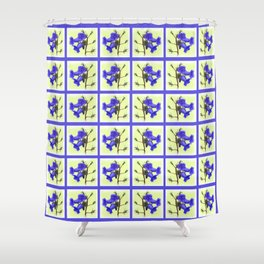 California Bluebell Faux Quilt Shower Curtain