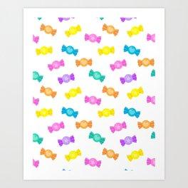 Cute Rainbow Candy Shop Pattern – Pastel Colors Art Print