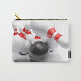 Bowling bowl striking the pins - 3D rendering Carry-All Pouch