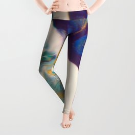 Fluid Nature - Dividing Line - Abstract Acrylic Art Leggings