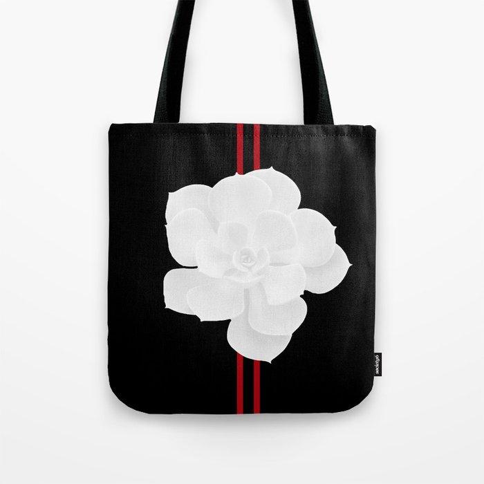 White Succulent On Black #decor #society6 #buyart Tote Bag