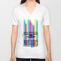 typewriter V-neck T-shirts featuring Typewriter by Elizabeth Cakovan