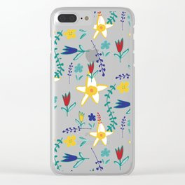 Floral The Tortoise and the Hare is one of Aesop Fables blue Clear iPhone Case
