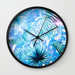 Aloha- Blue abstract Tropical Palm Leaves and Monstera Leaf Garden Wall Clock