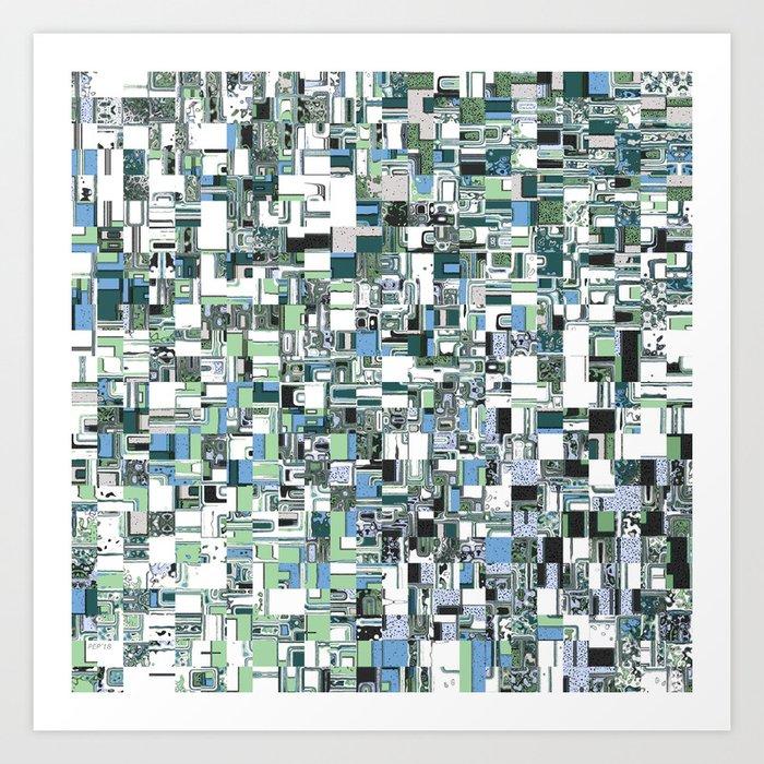 Geometric Squares Pattern Art Print