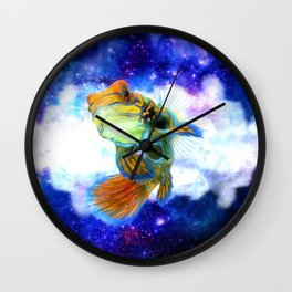 Mandarin Fish with Space Background Wall Clock