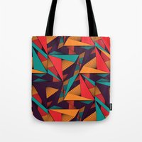 arya Tote Bags featuring Hexagonal Lines and Triangles by Hinal Arya