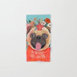 Pug with flowers. Dog lovers Hand & Bath Towel