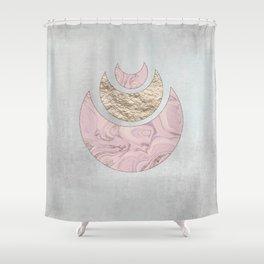 Elegant Pastel Rose Gold Marble Half Moon Design Shower Curtain