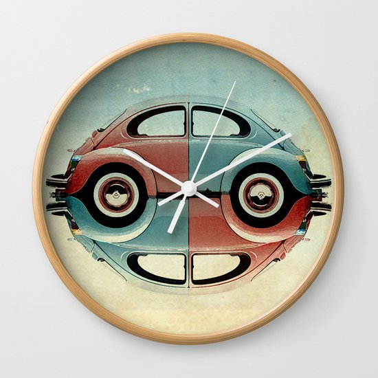 checkered 4 speed - VW beetle  Wall Clock