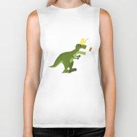 dinosaur Biker Tanks featuring dinosaur by Nir P