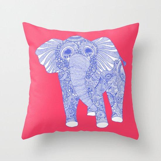 ornate Ellie in blue Throw Pillow
