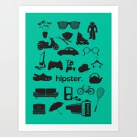 hipster Art Prints featuring hipster by tycejones