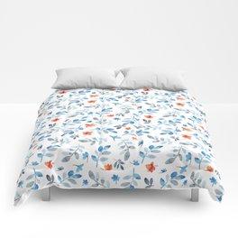 Hand painted watercolor orange pastel blue floral Comforters