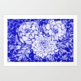 Dahlias & Peonies Blue Art Print