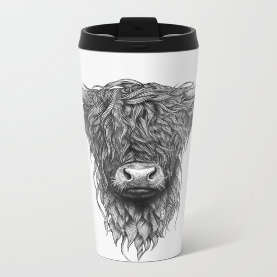 Highland Cattle Metal Travel Mug