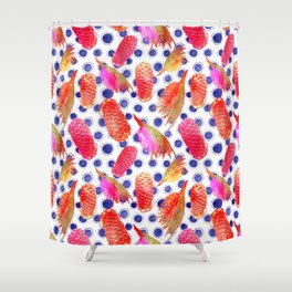 Beautiful Australian Native Floral Pattern - Grevillea and Beehive Ginger Shower Curtain