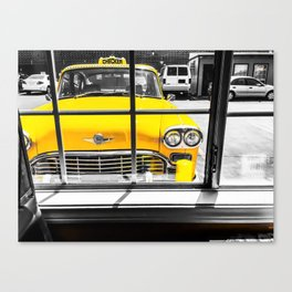 vintage yellow taxi car with black and white background Canvas Print