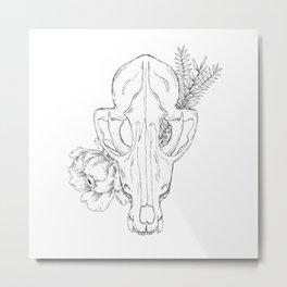 Floral Fox Skull Metal Print