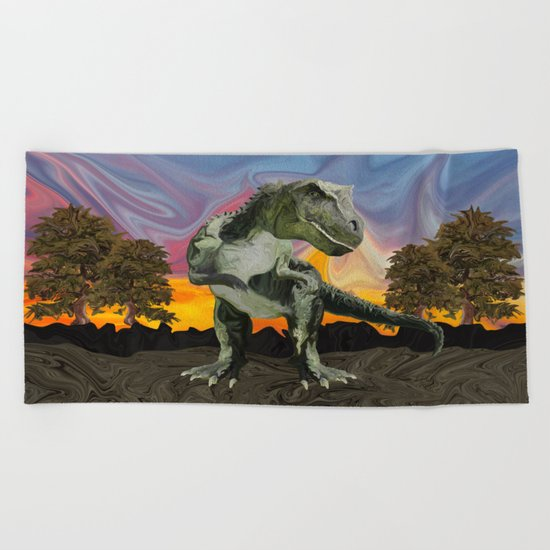 Tyrannosaurus Rex at the Twilight Hour Beach Towel
