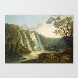 illa of Maecenas and Waterfalls at Tivoli by Jakob Philipp Hackert Canvas Print