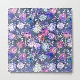 Gillian Floral Gray Metal Print