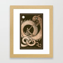 the Dragons Blight and the Warrior Bright Framed Art Print