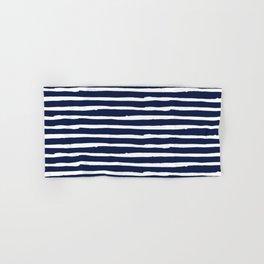 Navy Blue Stripes on White II Hand & Bath Towel