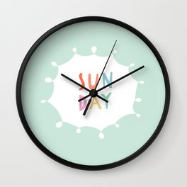 Sunday in Mint Wall Clock