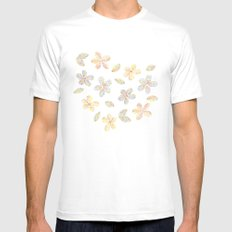 Floral stamp MEDIUM Mens Fitted Tee White
