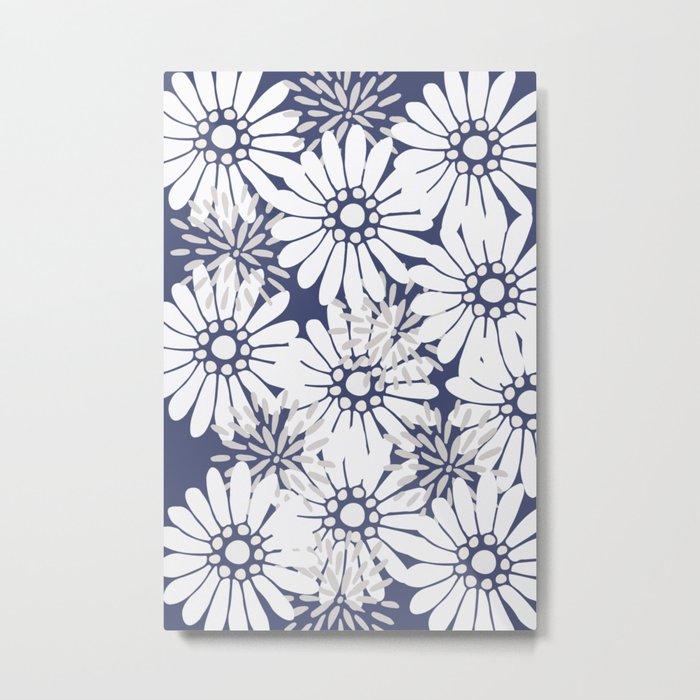 Summer Flowers Dark Blue Metal Print