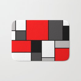 Red Black and Grey squares Bath Mat