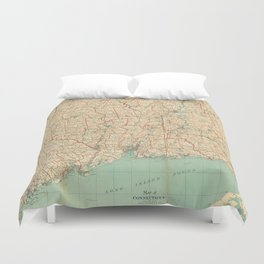 Vintage Map of Connecticut (1823) Duvet Cover