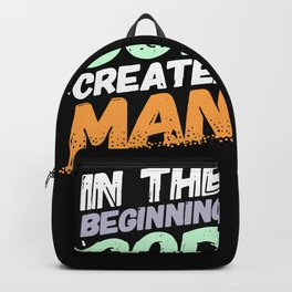 Evolution - In The Beginning God Created Man Backpack