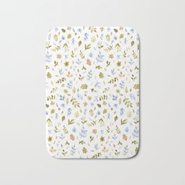 Watercolor Leaf Pattern Bath Mat