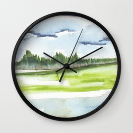 In the Mountains: moody, painterly watercolor landscape Wall Clock