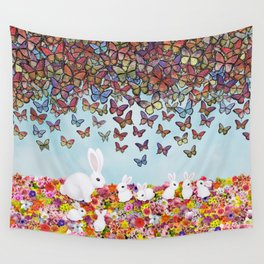 bunnies, flowers, and butterflies Wall Tapestry