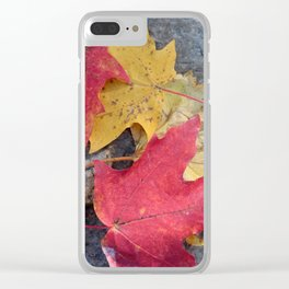 Red and Gold Leaves Clear iPhone Case