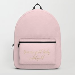 Solid Gold Glitter Text on Pink Backpack
