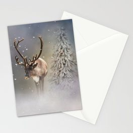 Santa Claus Reindeer in the snow Stationery Cards