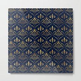 Elegant Fleur-de-lis pattern - Gold and deep blue Metal Print